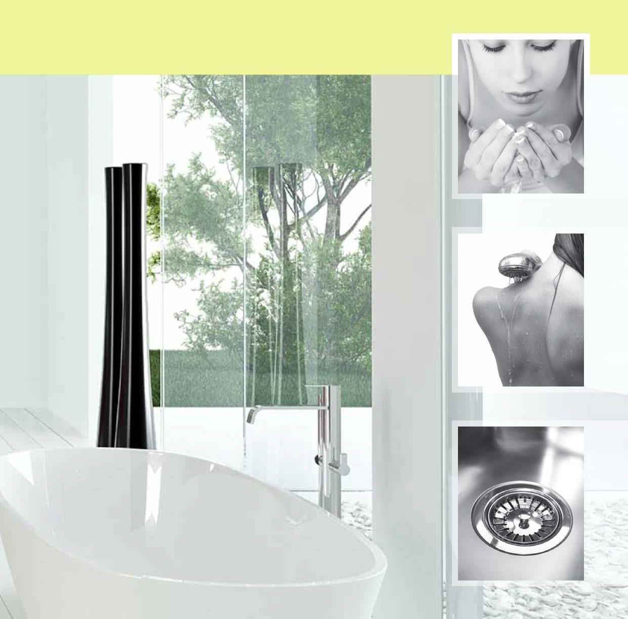 Blødt vand vist ved badekar og diverse vaskeamarturer